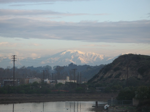 Mountains with snow from Newport Beach