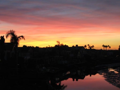 Newport Shores in Newport Beach sunset