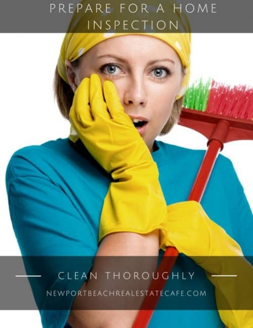 prepare for a home inspection, clean your house